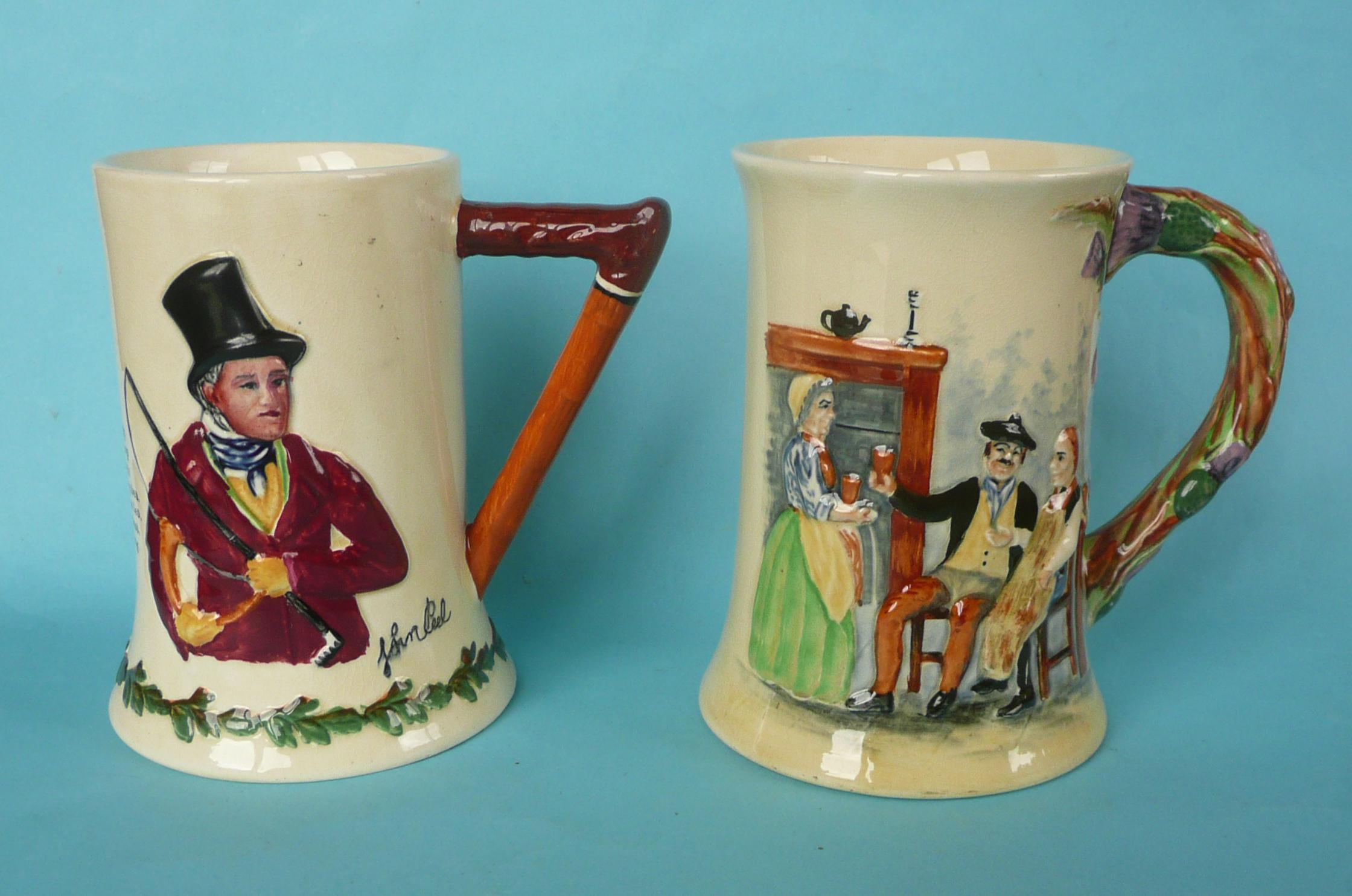 Lot 5 - A good John Peel musical mug to play that air, 151mm and a good Auld Lang Syne mug, both by Crown