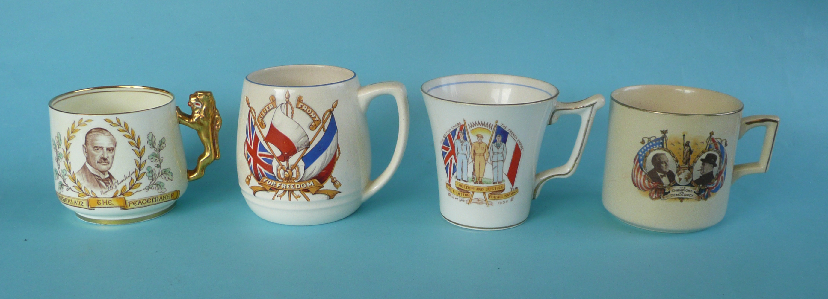 Lot 60 - World War II: a Paragon mug for the Munich Peace Conference, two mugs dated September 3rd 1939 and