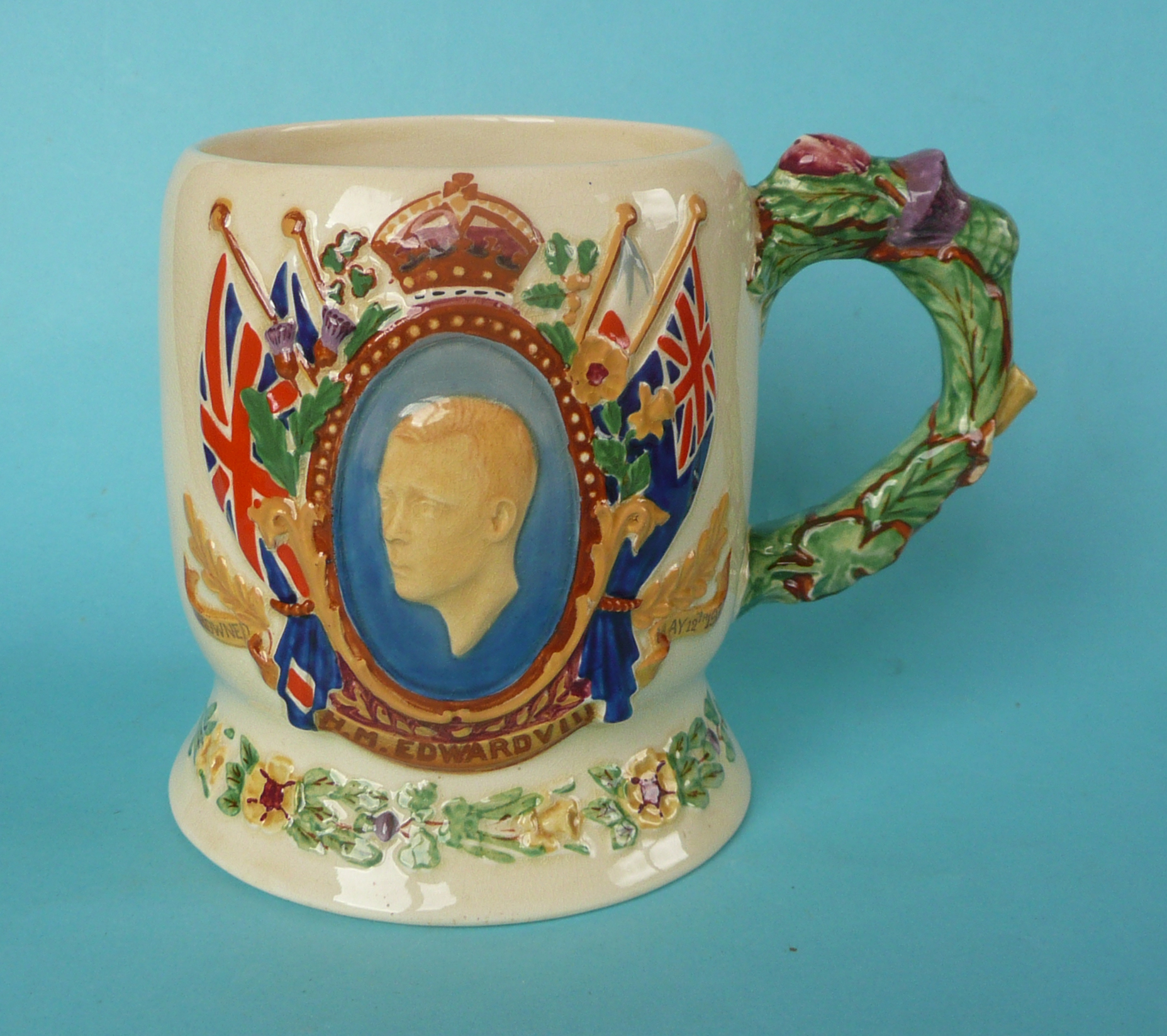 Lot 6 - A good Crown Devon Edward VIII coronation musical mug to play The National Anthem inscribed for