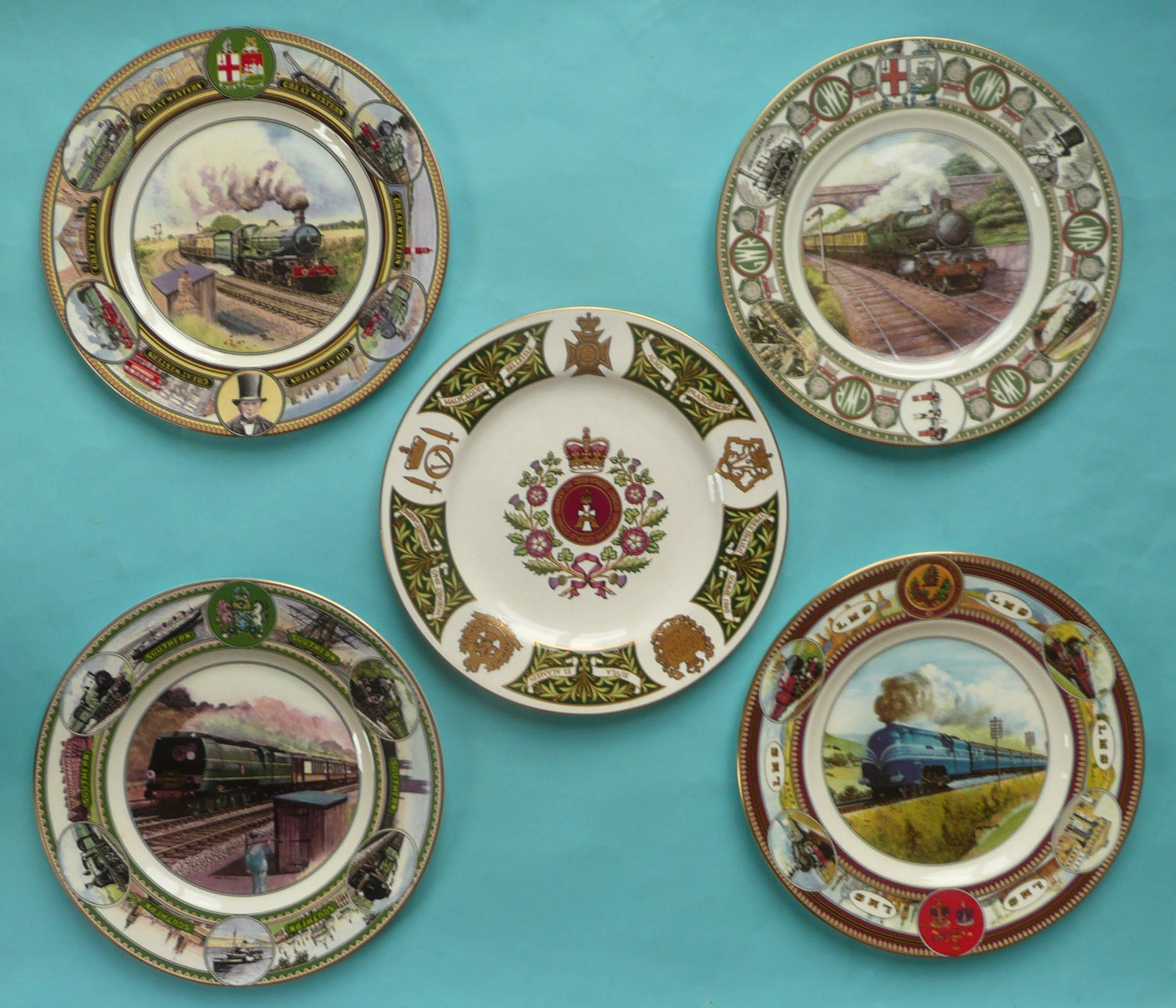 Lot 45 - A Spode for Mulberry Hall Green Howards regimental plate and four Coalport Railway plates, each
