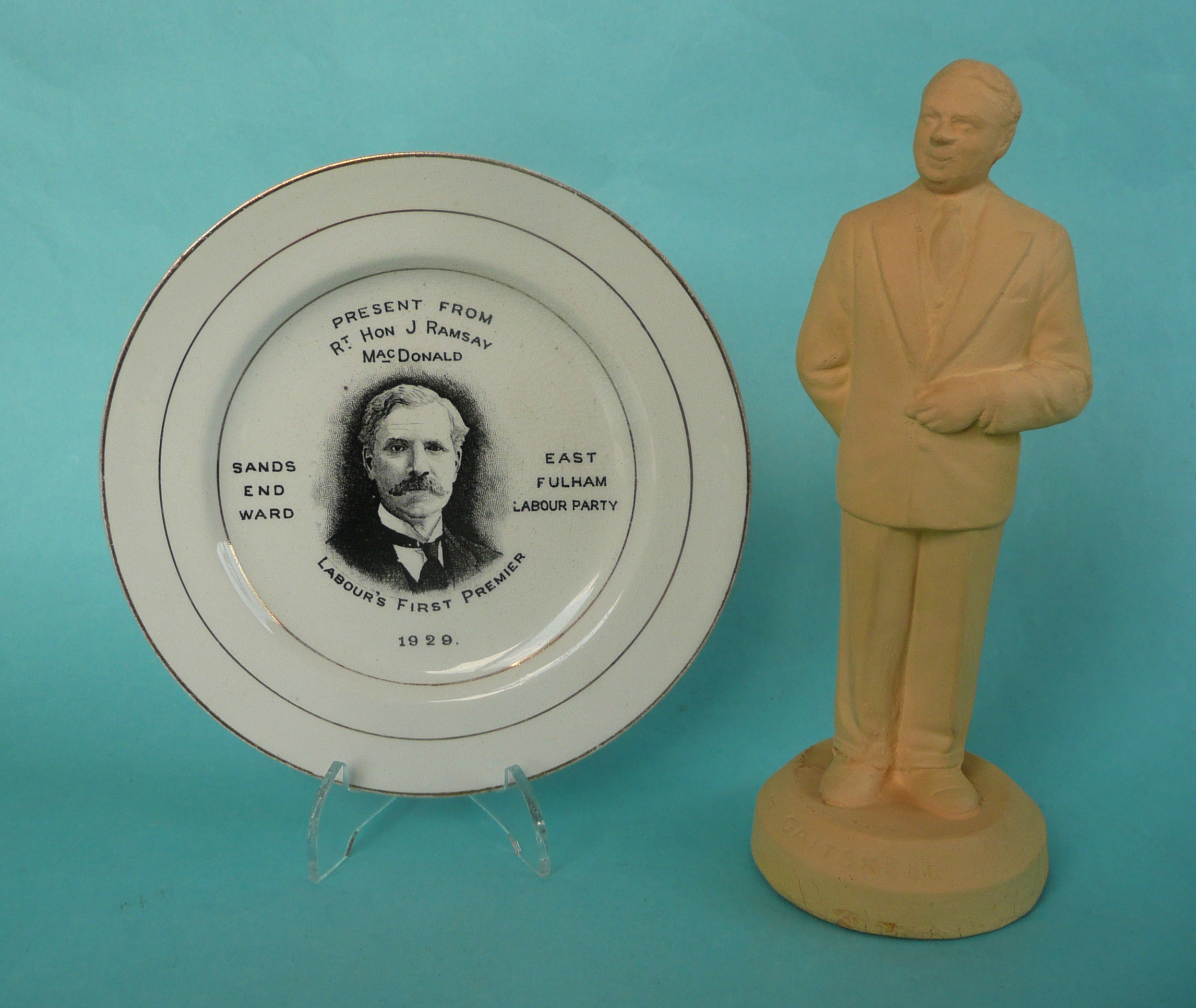 Lot 39 - A rare side plate printed in black with a named portrait of Ramsay McDonald inscribed as Labour's