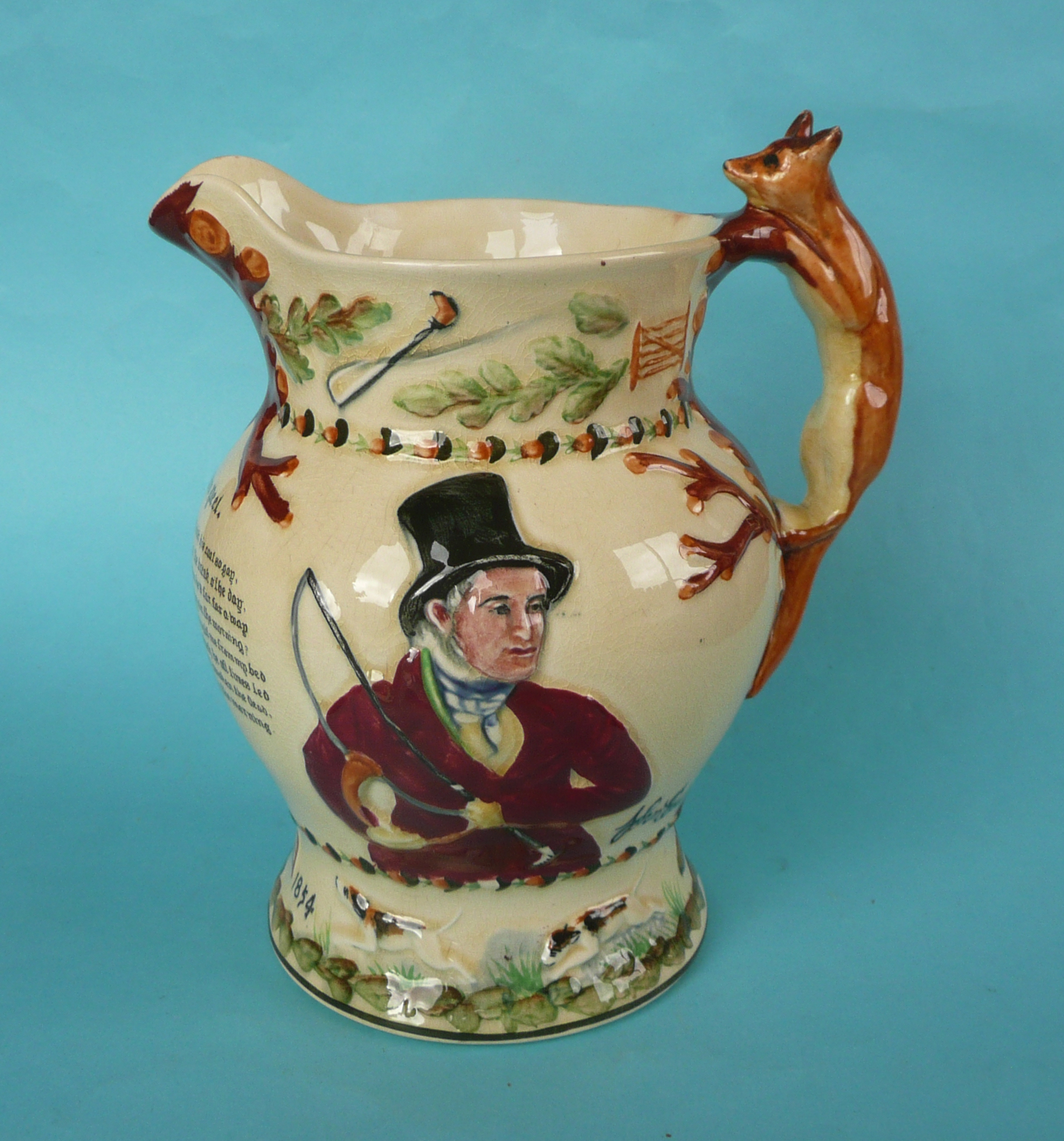 Lot 15 - A good Crown Devon John Peel musical jug to play that air, 201mm