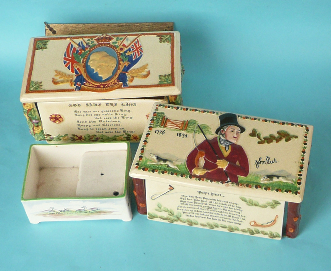Lot 12 - A Crown Devon musical cigarette box for the coronation of George VI, another John Peel and a smaller