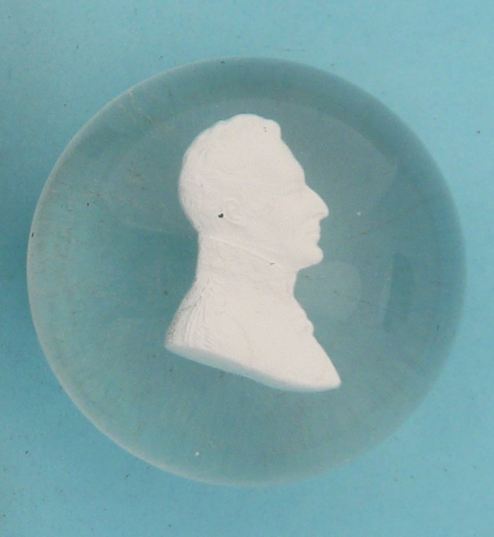 Lot 31 - Wellington: a sulphide glass paperweight the domed body enclosing a white head and shoulders looking