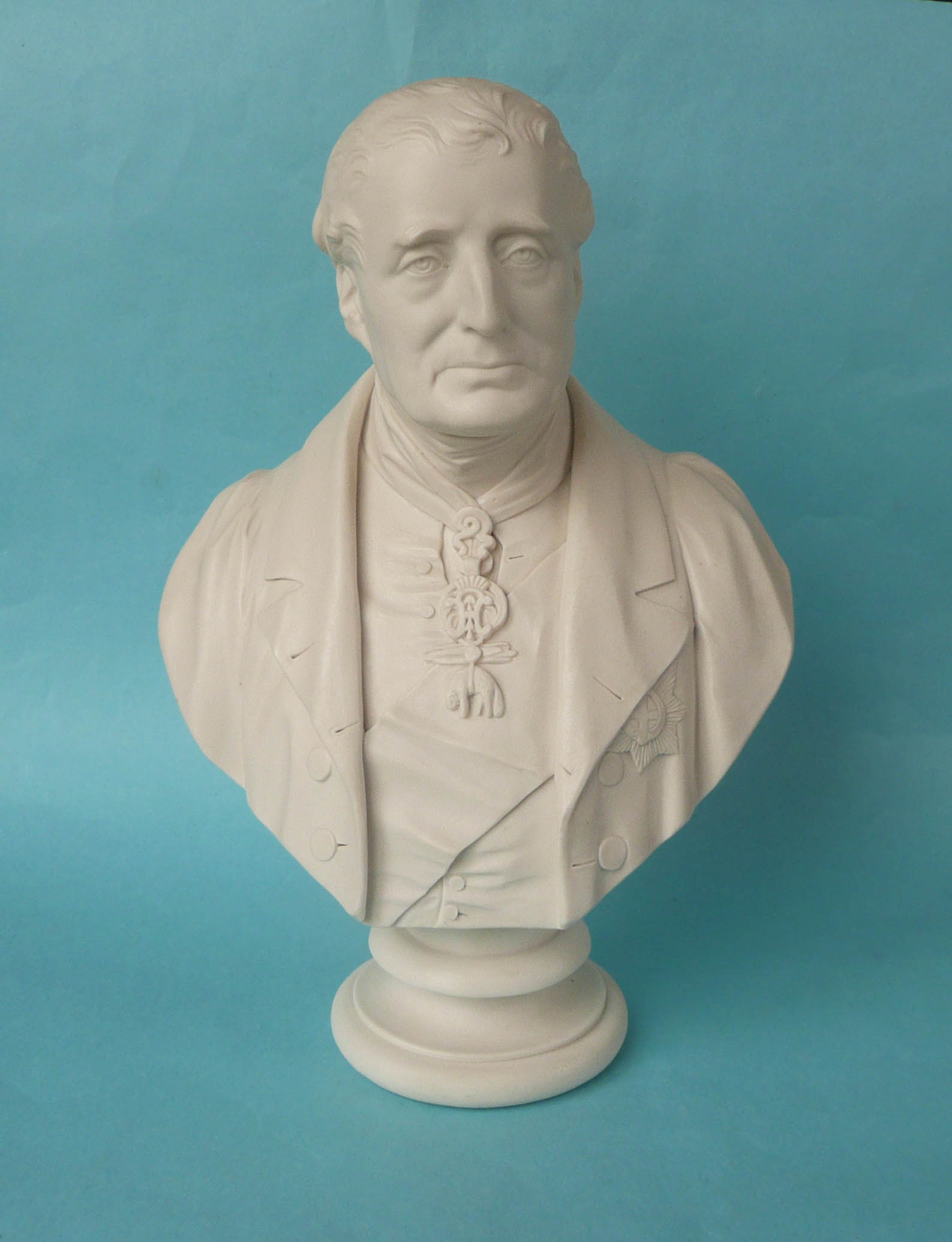 Lot 26 - 1851 Wellington: a good white parian portrait bust after H. Weigall for Coalbrookdale the reverse