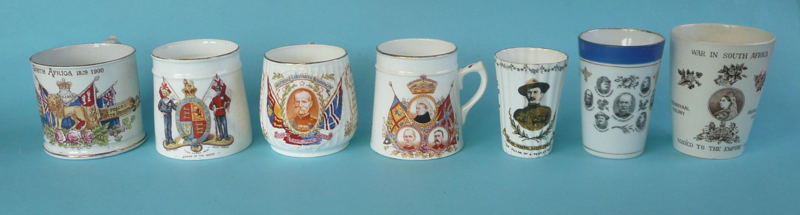 Lot 50 - Boer War: four mugs and three beakers (7) (commemorative, commemorate, naval, military)