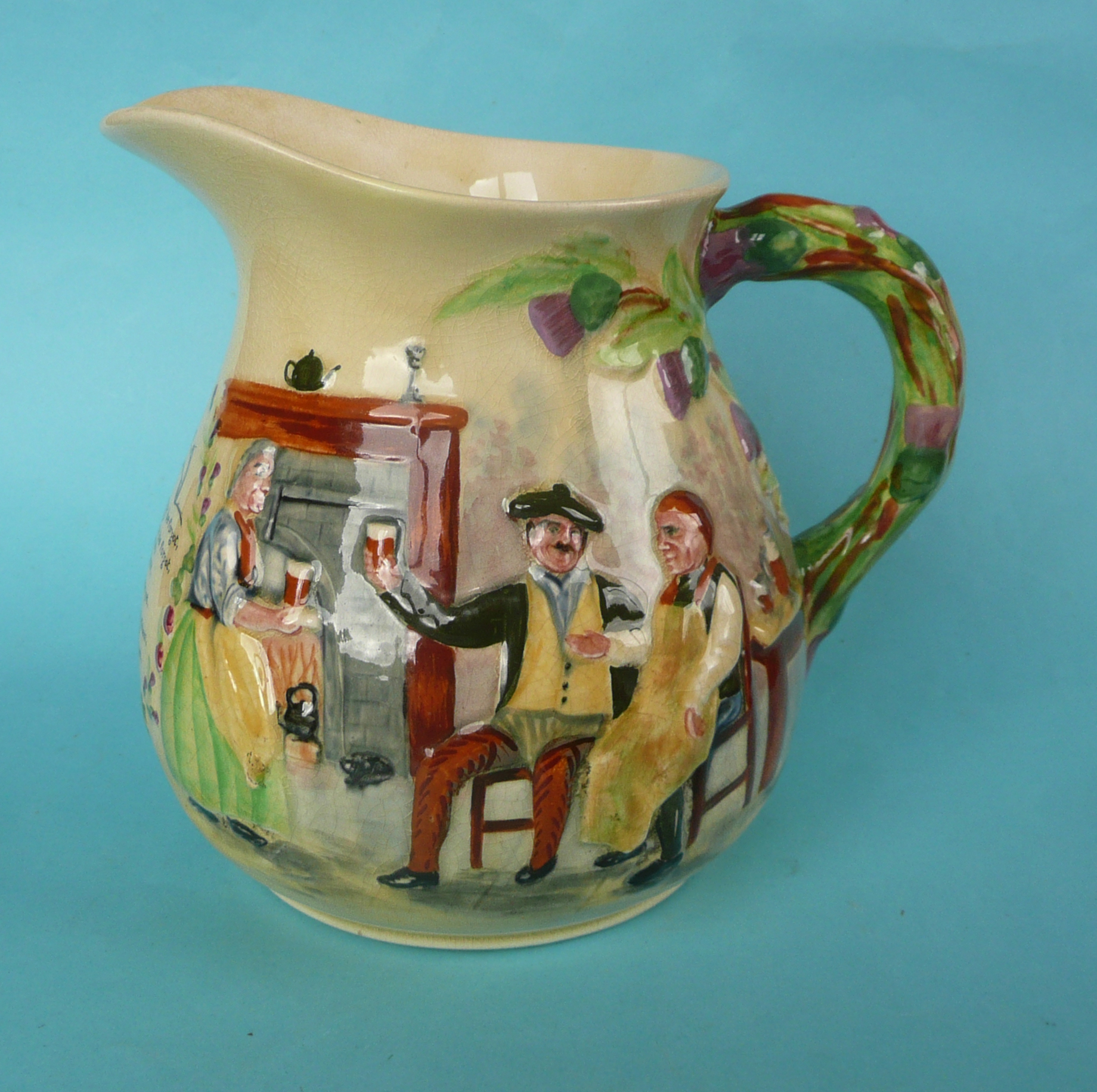 Lot 13 - A good Crown Devon Auld Lang Syne musical jug to play that air, 175mm