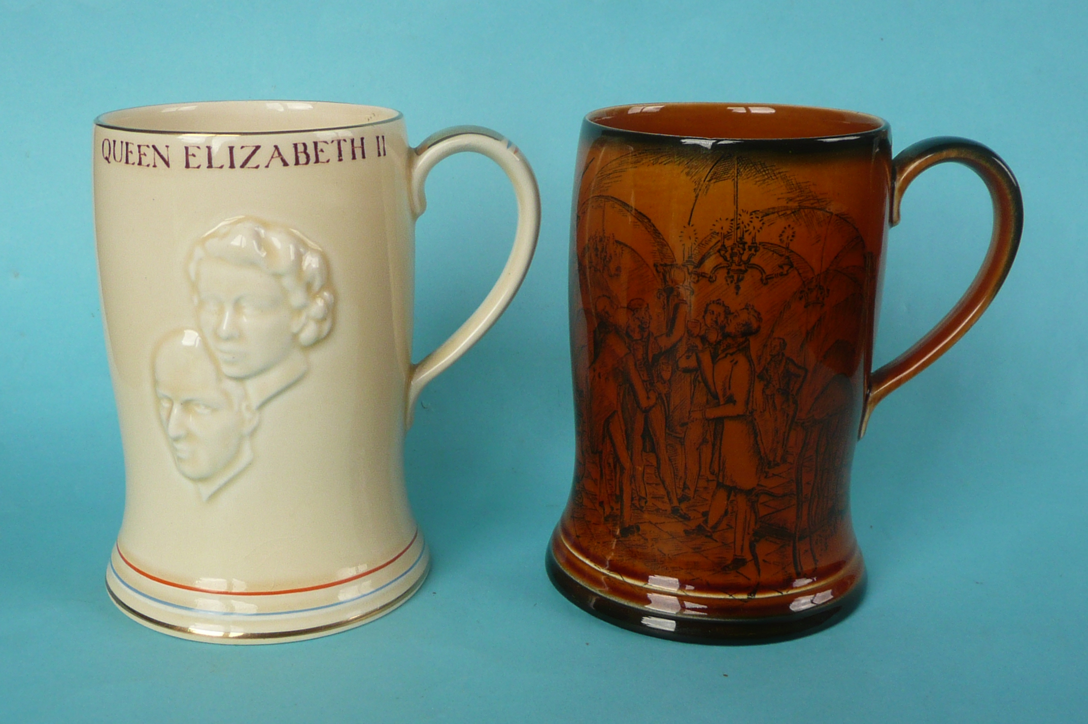 Lot 4 - A good Elizabeth II coronation musical mug to play The National Anthem, 134mm and another good mug