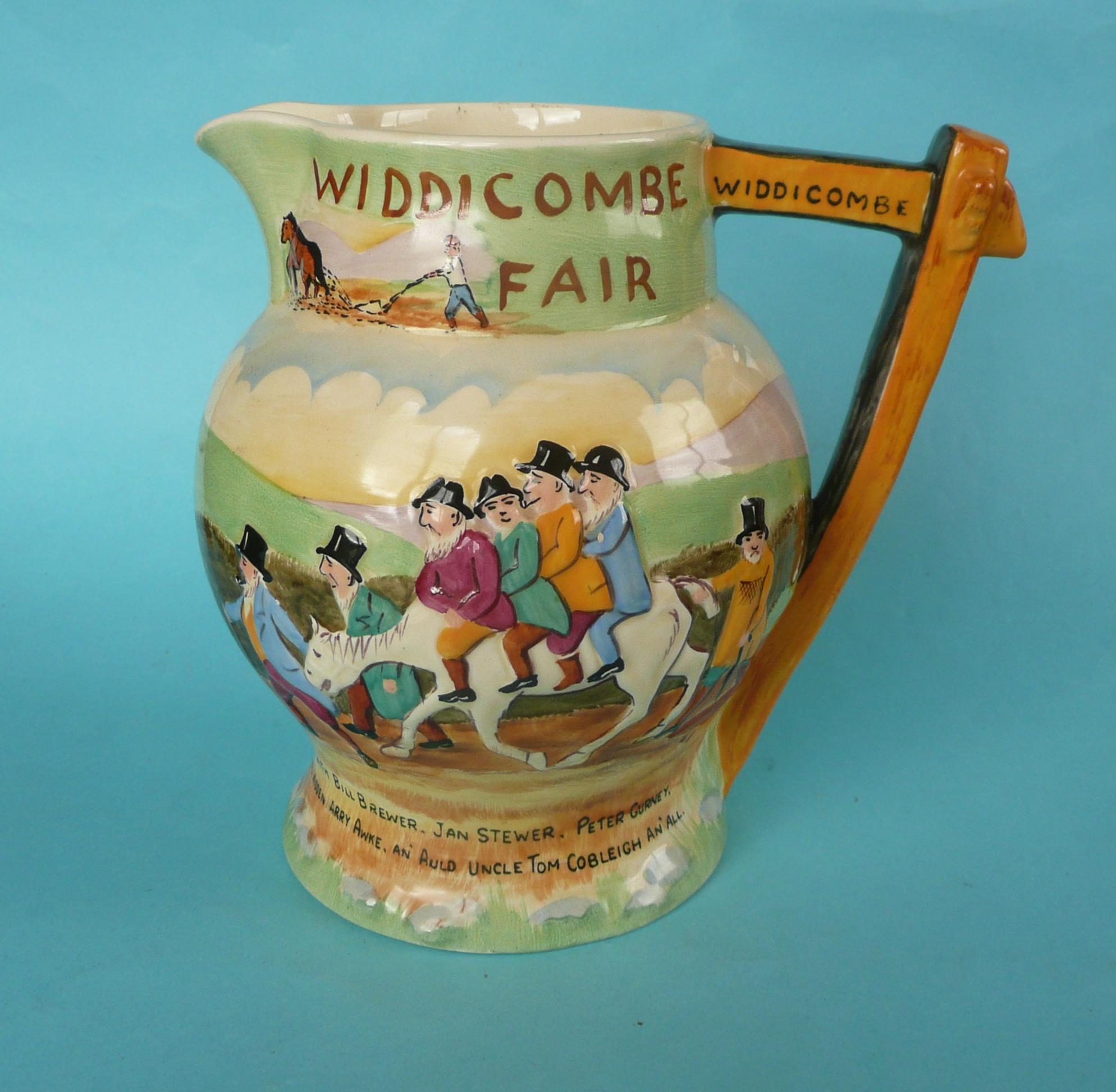 Lot 14 - A good Crown Devon Widdicombe Fair musical jug to play that air, 175mm