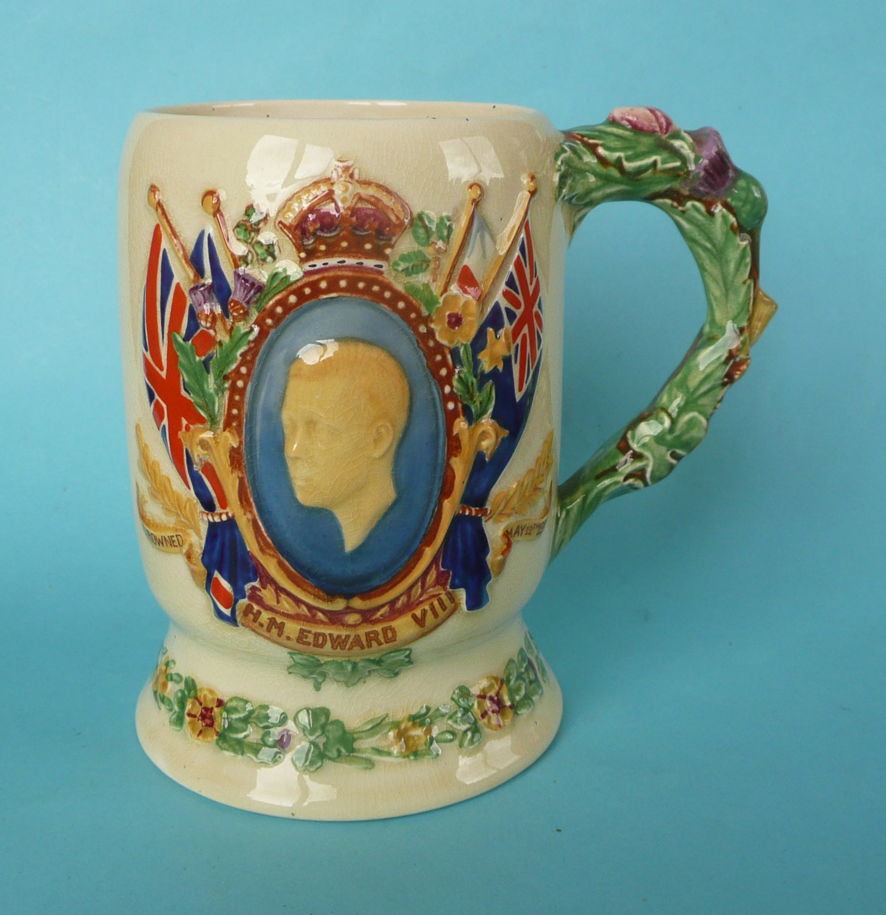Lot 7 - A good Crown Devon Edward VIII coronation musical mug inscribed for the abdication to play The