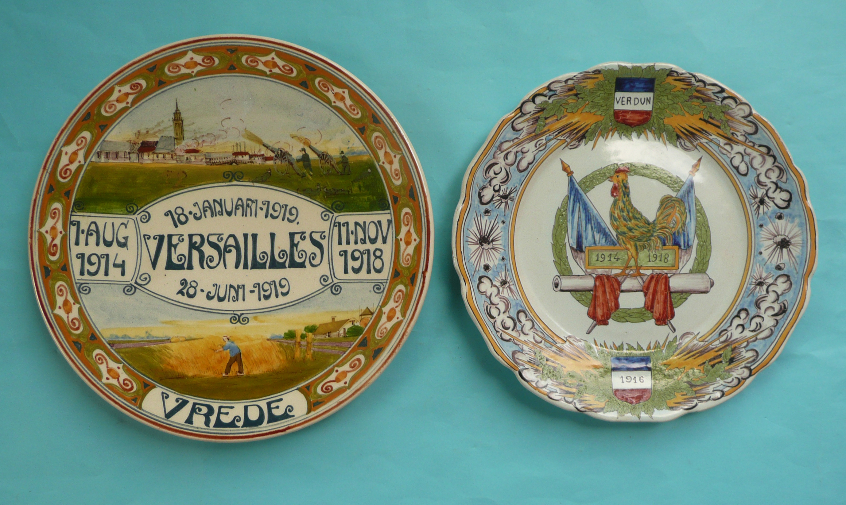 Lot 58 - World War I: a Delft plate painted with scenes of war and peace and dated for the cessation of