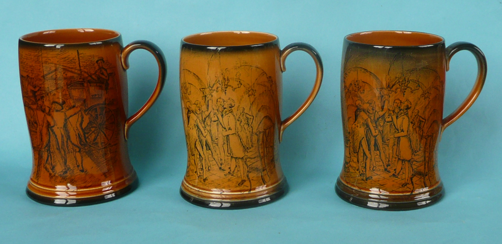 Lot 3 - A good Crown Devon musical mug to play Tavern in the Town, 134mm, another similar mug reverse