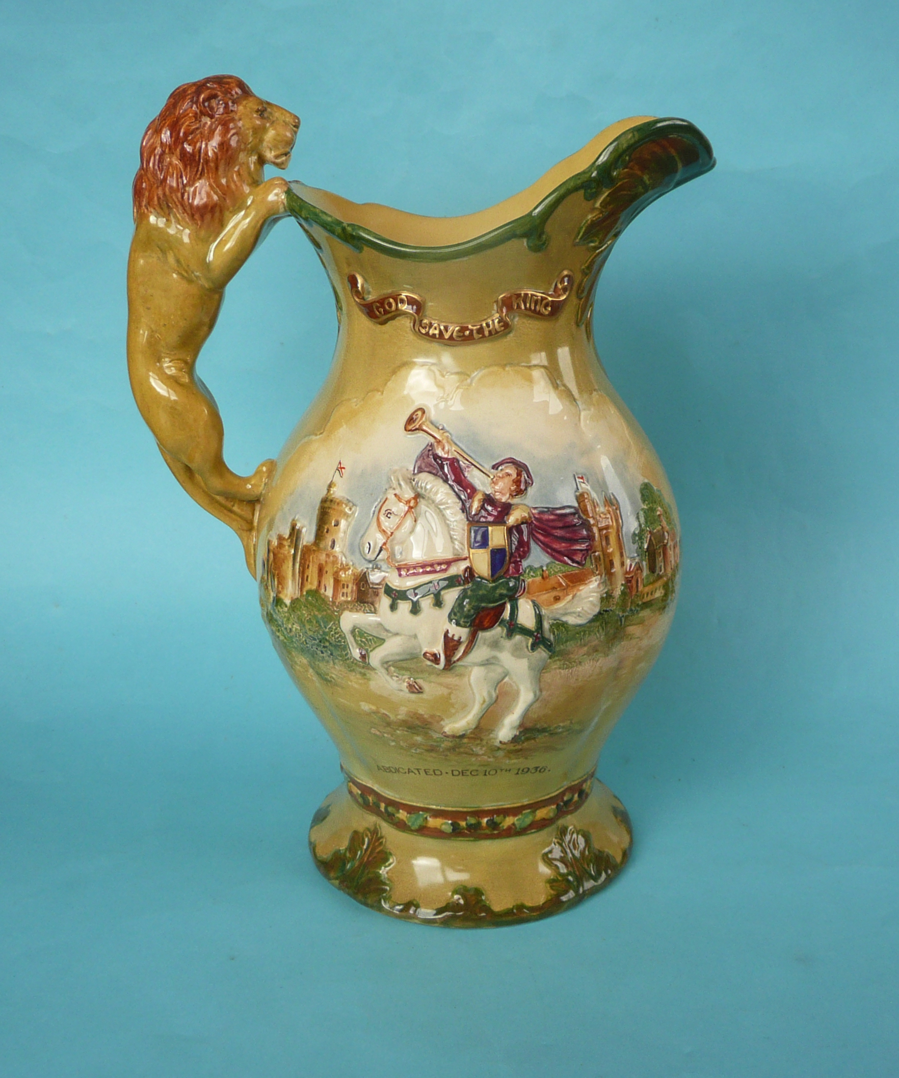 Lot 17 - A good Edward VIII coronation musical moulded jug impressively decorated in colours and gilt,