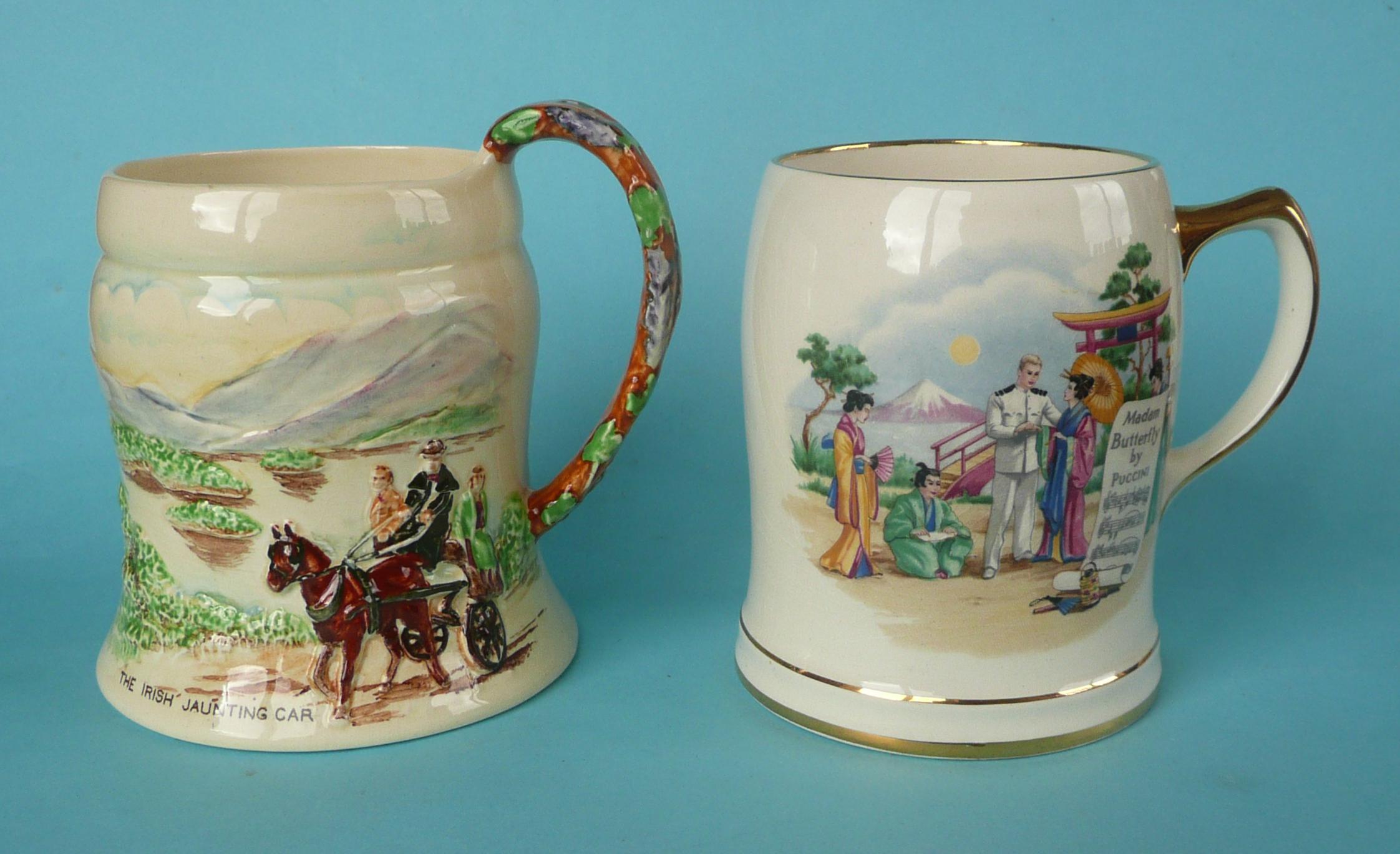 Lot 2 - A good Irish Jaunting Car musical mug to play Killarney, 131mm and a Madame Butterfly mug, both by