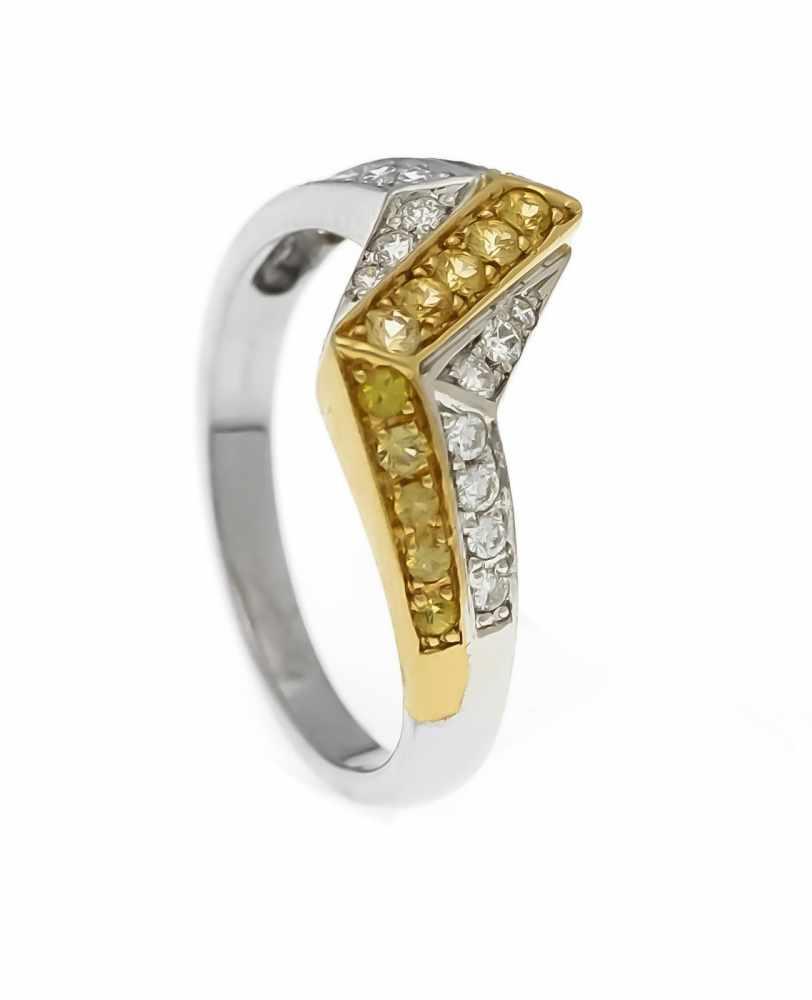 Lot 55 - Citrin-Brillant-Ring WG/GG 585/000 mit 15 rund fac. Citrinen 1,7 - 1,2 mm in sehr guterFarbe und