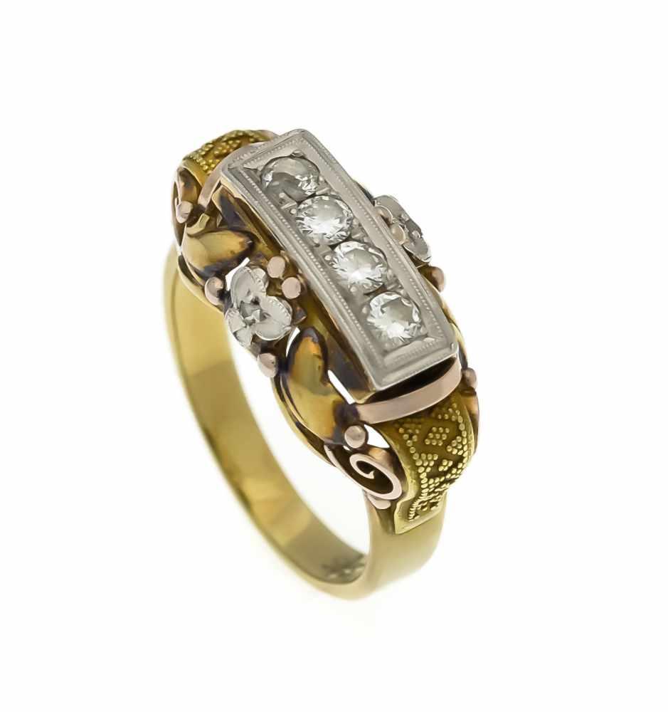 Lot 10 - Brillant-Ring GG/WG/RG 585/000 mit 4 Brillanten (1 best.), zus. 0,30 ct l.get.W - W/SI, RG56, 6,4