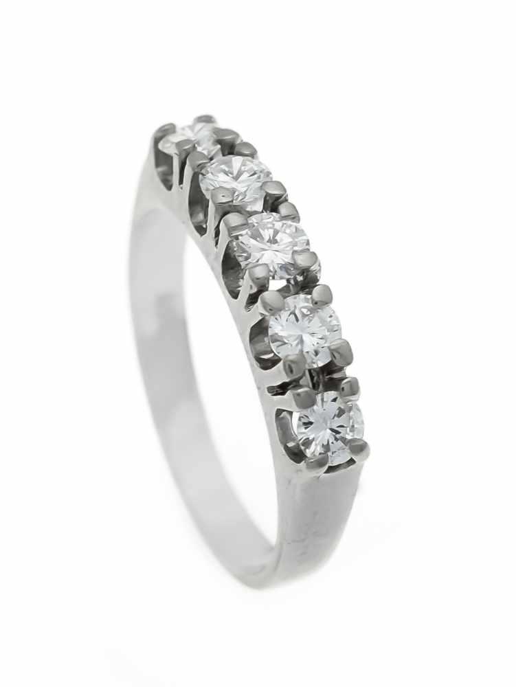 Lot 38 - Memory-Ring WG 585/000 mit 5 Brillanten, zus. 0,70 ct TW/VVS-VS, RG 54, 3,3 gMemory ring WG 585/