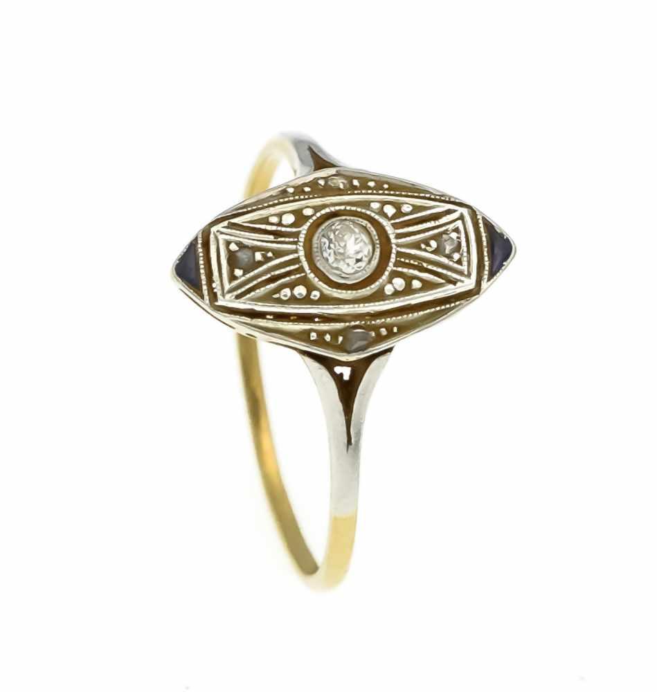 Lot 29 - Art Déco Ring GG/WG 585/000 mit einem Altschliff-Diamanten 0,04 ct W/PI, 4 Diamantrosenund 2 fac.