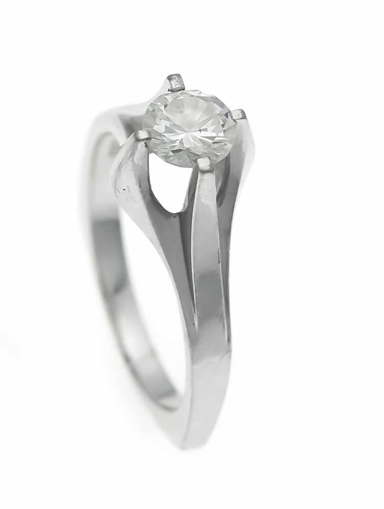 Lot 35 - Brillant-Ring WG 750/000 mit einem Brillanten 0,67 ct W/SI, RG 54, 5,3 gBrillant ring WG 750/000
