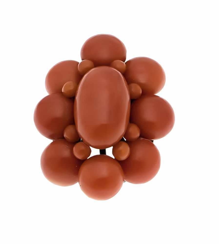 Lot 7 - Korallen-Brosche/Anhänger Silber mit boutonförmigen Korallen-Kugeln, oval 19 x 12 mm undrund 10 -