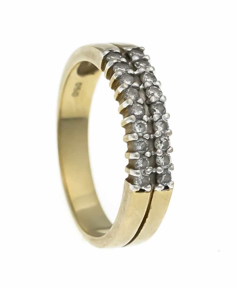 Lot 51 - Brillant-Ring GG/WG 750/000 mit 18 Brillanten, zus. 0,50 ct punziert, l.get.W/PI, RG 59,5,1