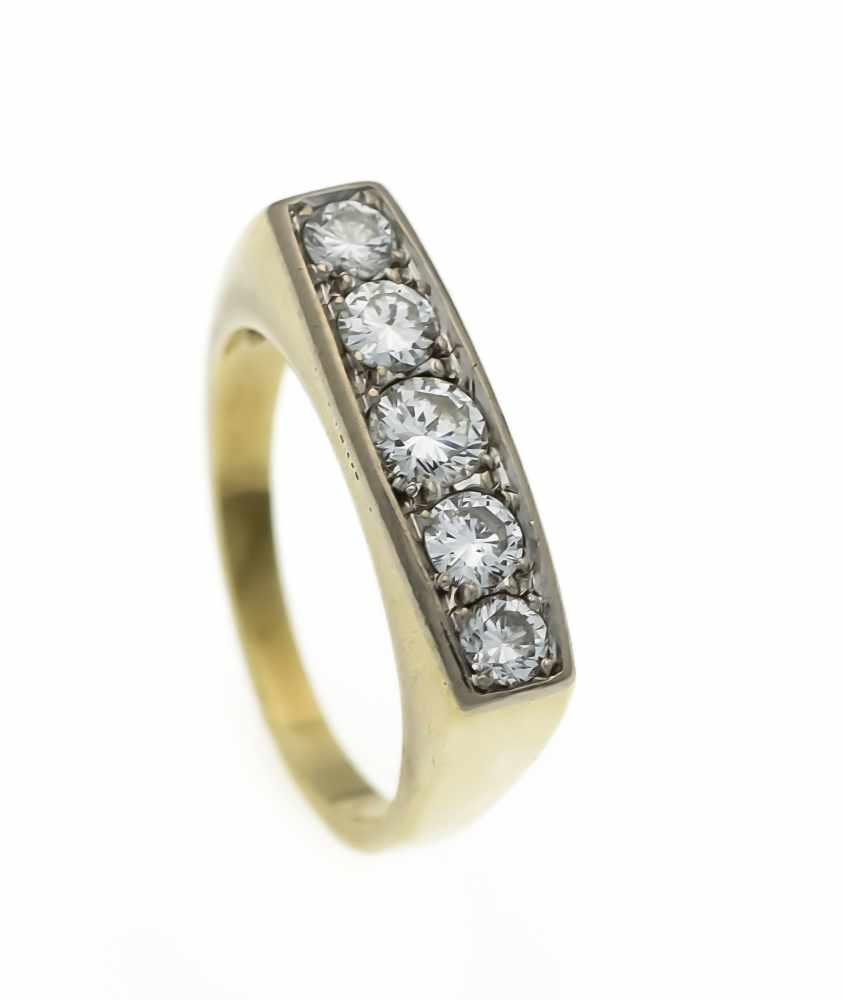 Lot 39 - Brillant-Ring GG/WG 585/000 mit 5 Brillanten, zus. 1,0 ct TW/VS-SI, RG 56, 7,4 gBrillant Ring GG /