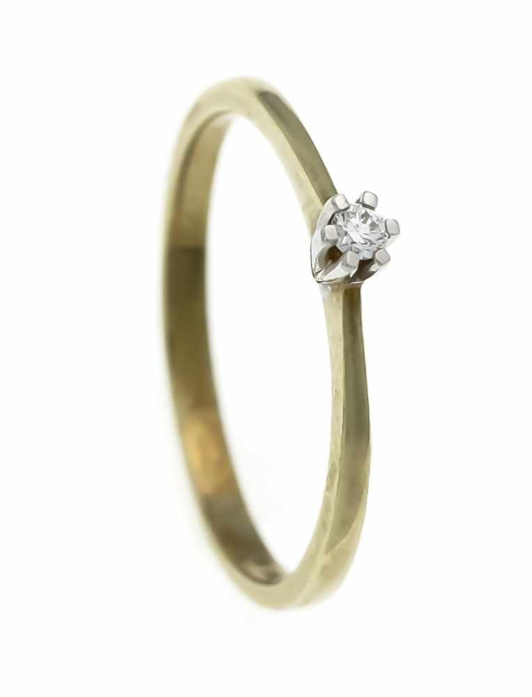 Lot 48 - Brillant-Ring GG/WG 585/000 mit einem Brillanten 0,05 ct punziert TW/VS, RG 58, 1,9 gBrilliant