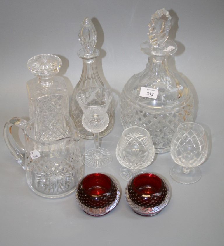 Lot 312 - A Royal Brierly facet and hobnail cut crystal decanter and stopper, together with a good quantity of