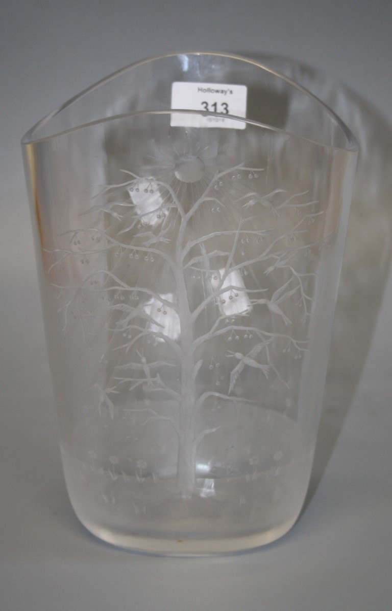 Lot 313 - A Swedish cut glass vase of elliptical form etched with a tree and roosting birds, indistinctly
