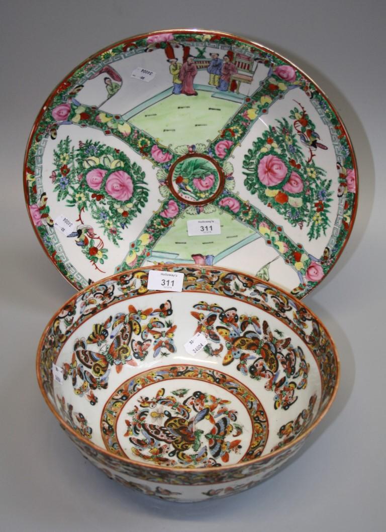 Lot 311 - A Chinese famille rose porcelain 'Thousand Butterfly' pattern bowl and a modern famille rose