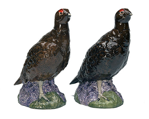 Lot 932A - ROYAL DOULTON (BESWICK) A BRACE OF 'THE FAMOUS GROUSE' WHISKEY DECANTERS, standing approx. 9 1/