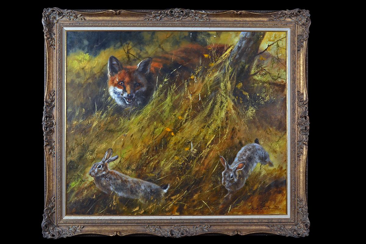 Lot 106 - MICK CAWSTON (1959-2006) AN ORIGINAL OIL ON CANVAS, signed by the artist, showing a fox hunting