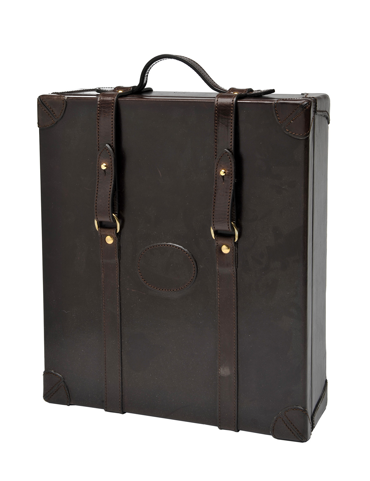 Lot 920 - REY PAVON A NEW AND UNUSED LEATHER CASED WHISKEY TRAVEL SET, fine leather case, with brass fittings,