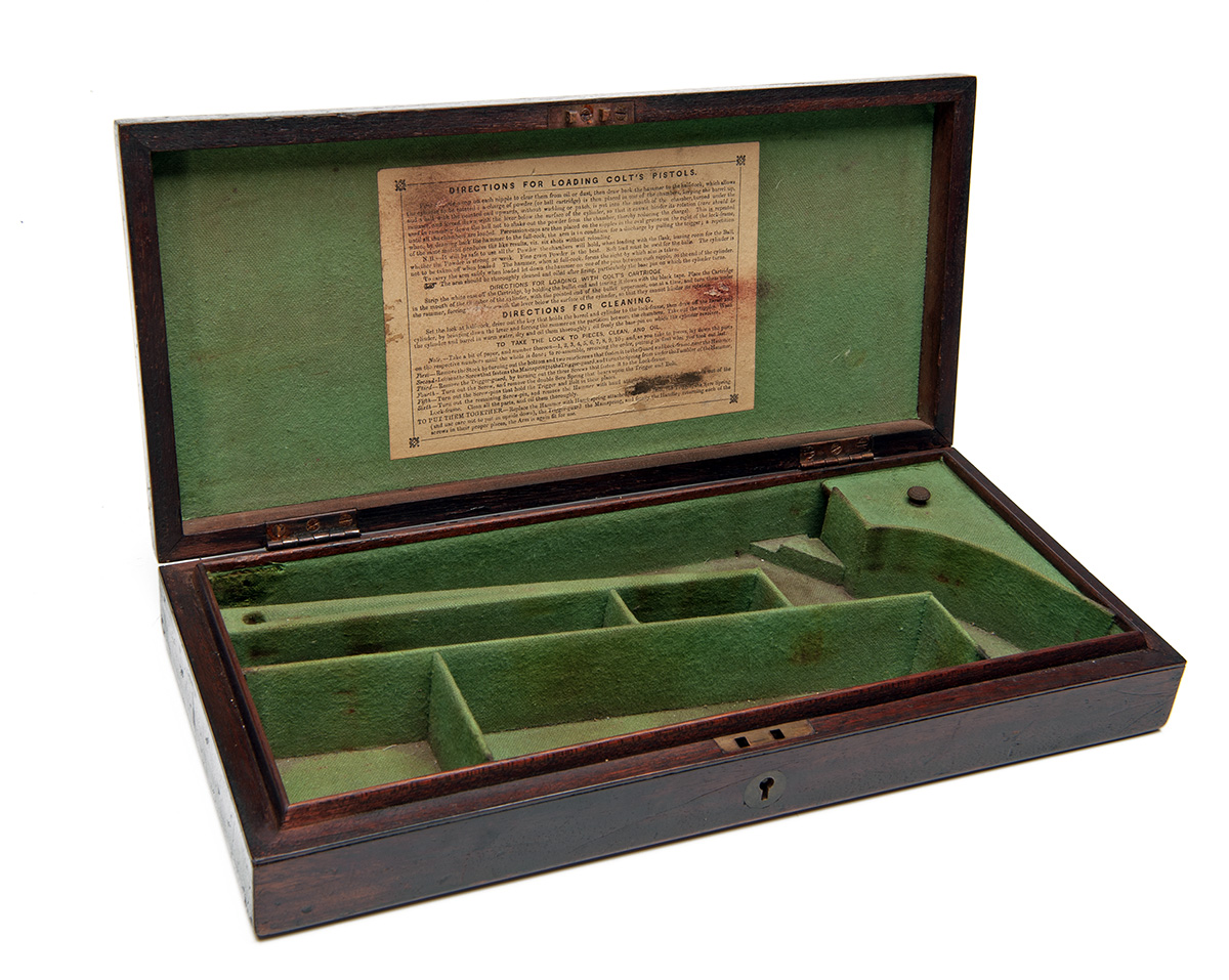Lot 302 - COLT, USA A GOOD HARDWOOD STORAGE CASE FOR AN 1851 NAVY MODEL REVOLVER, American market circa 1860