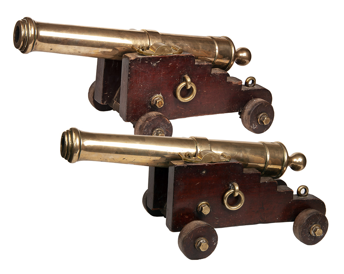 Lot 251 - A MATCHED PAIR OF 1 3/4in. BRONZE DECK-CANNON, UNSIGNED, no visible serial numbers, late 18th to
