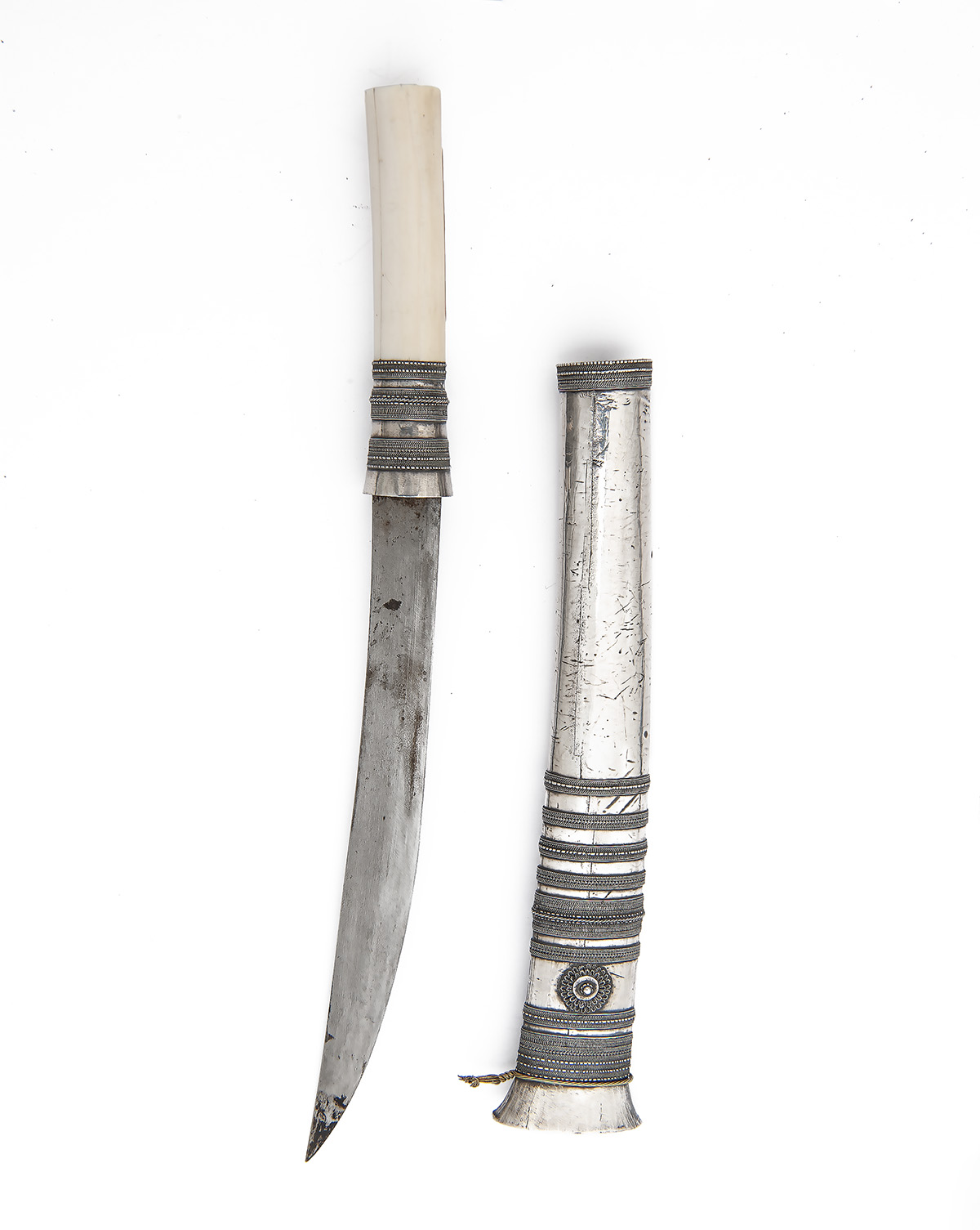 Lot 216 - TWO WHITE-METAL MOUNTED BURMESE DHAS, ONE OF MINIATURE SIZE, both late 19th century, the first
