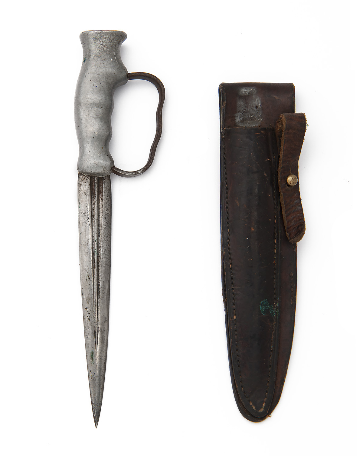 Lot 224 - ROBBINS, DUDLEY A RARE BRITISH WORLD WAR ONE TRENCH-KNIFE, of 'in-line' form, with double-edged 6in.