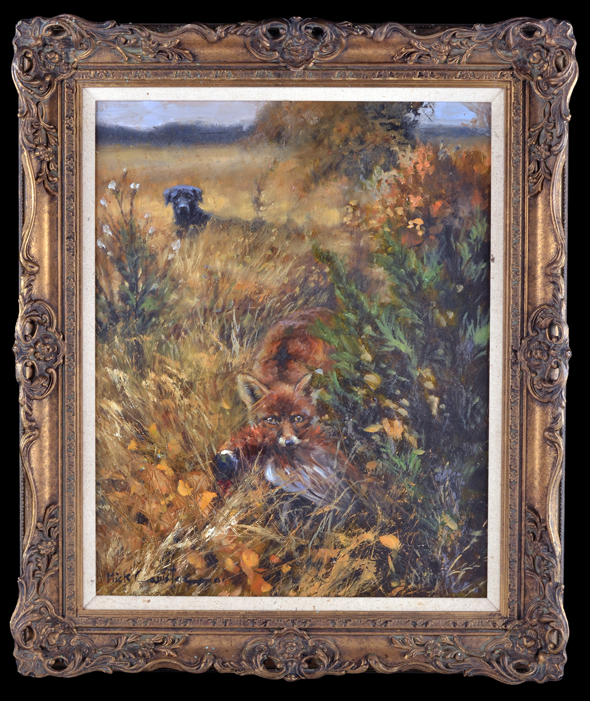Lot 105 - MICK CAWSTON (1959-2006) AN ORIGINAL OIL ON CANVAS, showing hound, fox and pheasant in country