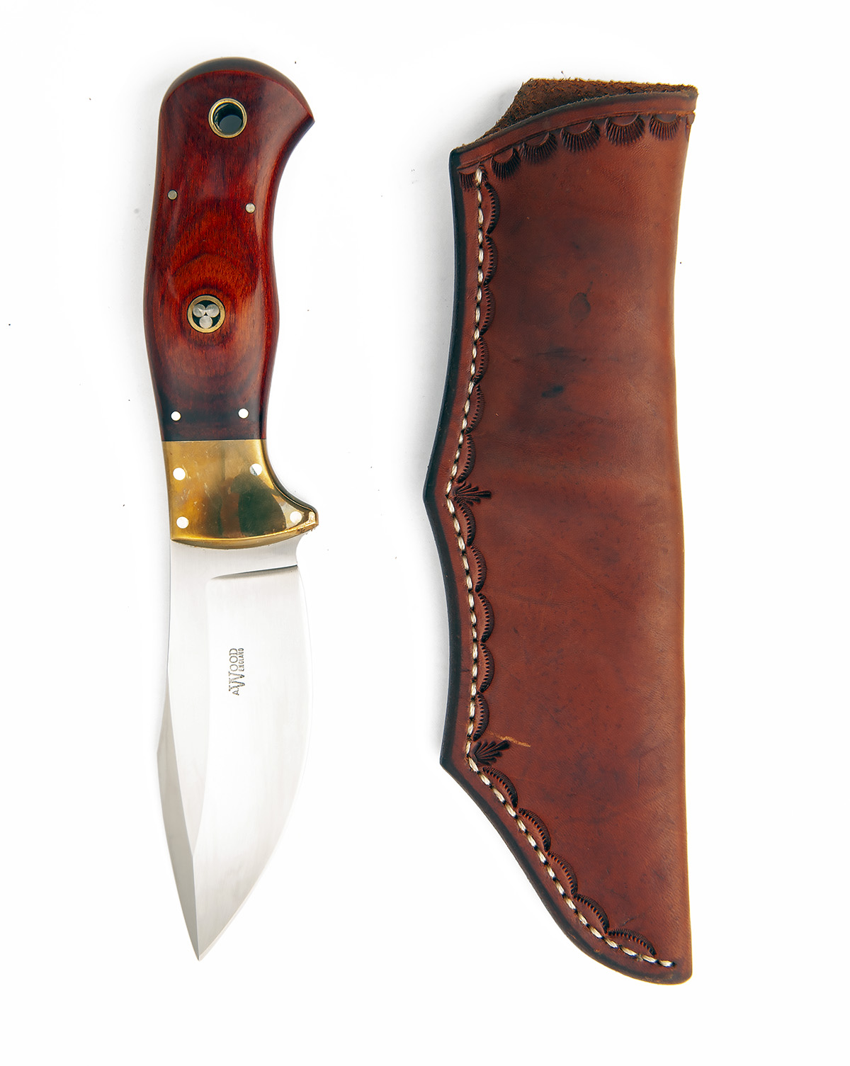 Lot 221 - ALAN WOOD, ENGLAND A FIXED-BLADE SPORTING-KNIFE, MODEL 'ALASKA', with polished drop-point 4in. blade