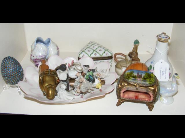 Lot 384 - Assorted miniature figures and animals, trinket ja
