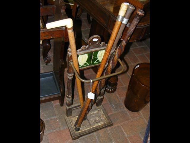 Lot 502 - An antique stick/umbrella stand, together with fou