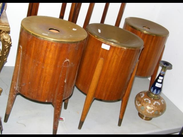 Lot 42 - Three retro wooden and metal hotel lounge waste bins