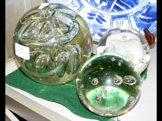 Lot 236 - A large Victorian glass dump, together with two pa