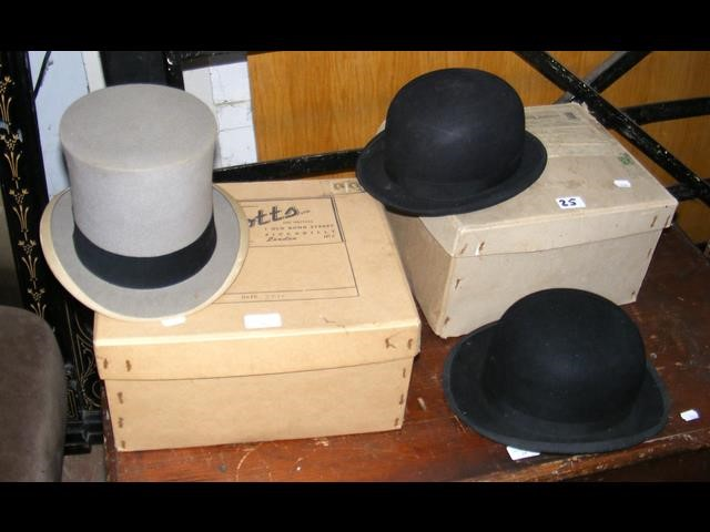 Lot 25 - A Herbert Johnson grey top hat - boxed, together w