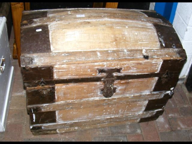 Lot 3 - A metal bound dome topped trunk - width 80cm