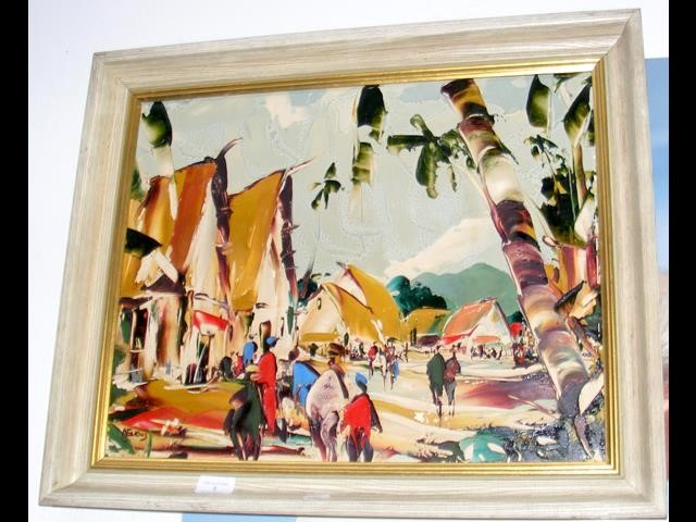 Lot 9 - DEAKINS - abstract painting of figures - framed -