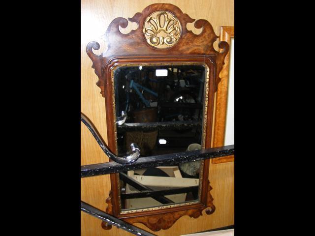 Lot 23 - A Georgian style wall mirror with pierced fretwork