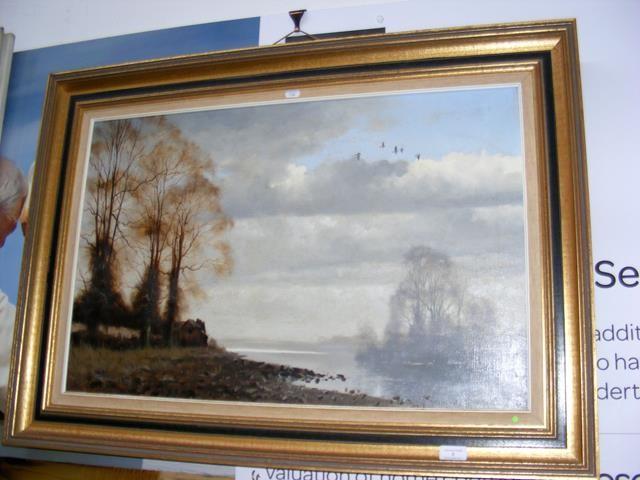 Lot 8 - WALTER ROBIN JENNINGS '79 - oil painting of ducks in flight - f