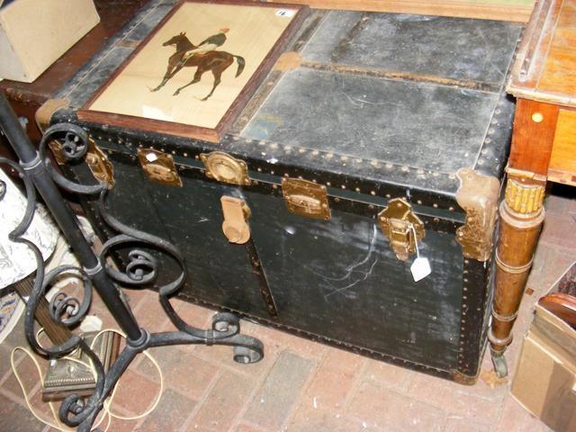 Lot 17 - A Blue Label metal bound trunk - width 95cm
