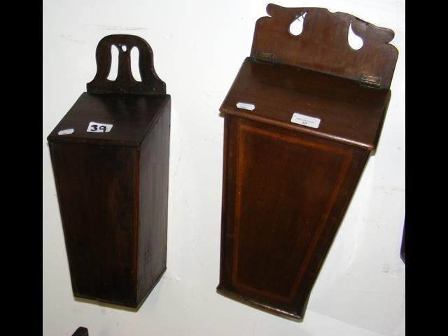 Lot 39 - Two candle boxes, one inlaid